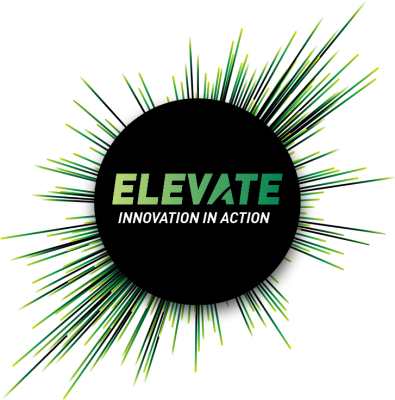 Elevate. Innovation in action. Logo. Elevate 2018
